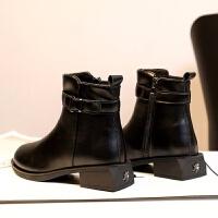 厂家直销秋冬新款靴子女 平底英伦风女鞋 加绒保暖中跟皮靴女批发 黑色