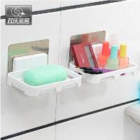双庆吸盘肥皂架肥皂盒卫生间置物架浴室壁挂式塑料沥水香皂盒5050香皂盒壁挂式肥皂架浴室沥水皂盒