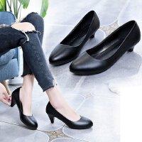 小皮鞋女3-5厘米中跟浅口学生黑色哑光礼仪高跟鞋细跟单鞋工作ol