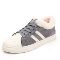 韩莲朵2018冬季新款加绒帆布鞋女韩版大棉学生板鞋平底鞋带小白
