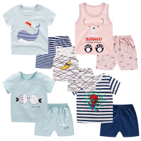 儿童短袖短裤套装男女宝宝背心纯棉休闲夏装0-5岁婴儿夏天衣服