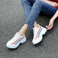 2019春季新款厚底运动鞋女增高拼接撞色休闲鞋系带百搭老爹鞋