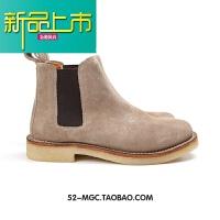 新品上市阿美咔叽高端固异靴男士套脚马丁靴百搭真皮高帮靴子短靴 浅灰色 22701 切尔西靴