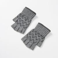 露指手套男冬学生保暖防寒男生冬天手套男针织毛线手套男冬半指