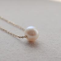 peiy淡水珍珠项链单颗天然珍珠项链女珍珠吊坠一颗镀14金锁骨链女中秋节礼物品