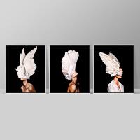 现代客厅装饰画三联油画北欧沙发背景墙画黑白卧室挂画羽毛与少女 有框高123*长103 按拍下颜色发货
