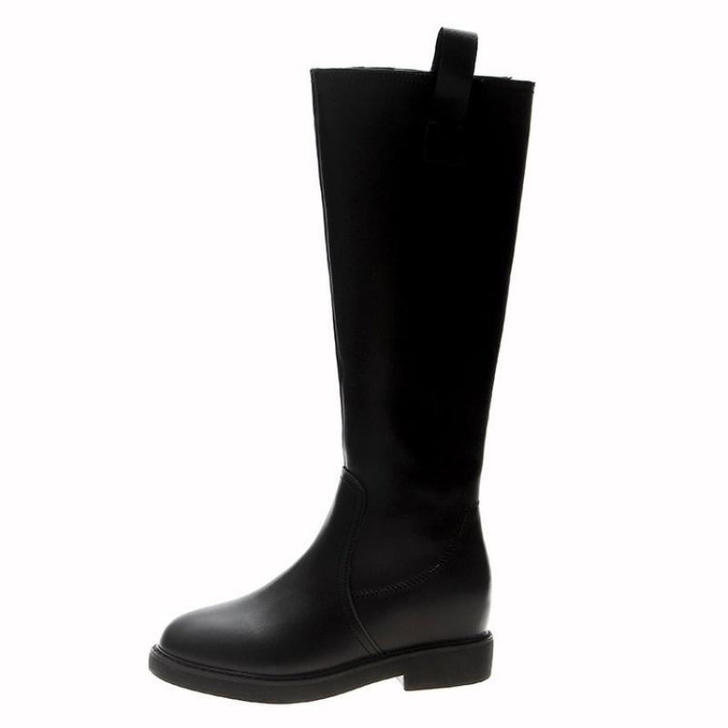 2019秋春季新款过膝长靴女 加绒粗中跟高筒瘦瘦靴子长筒皮靴批发 黑色