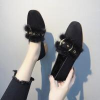 毛毛鞋女秋冬2019新款网红韩版高跟百搭粗跟豆豆鞋单鞋仙女瓢鞋 黑色 粗跟