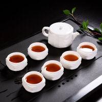 功夫茶具套装家用整套简约陶玉瓷浮雕泡茶壶茶杯陶瓷茶道配件