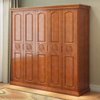 实木衣柜简约现代中式4门5门衣橱经济型卧室家用木质整体大衣柜子