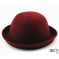 时尚休闲礼帽 圆顶礼帽 韩版潮女 欧美帽子 卷边羊毛呢英伦复古小圆帽可爱