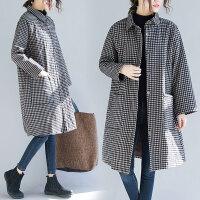 胖妹妹春装大码女装外套格子洋气显瘦减龄遮肉中长款韩版新款