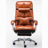 黑白调 电脑椅 家用老板椅办公椅可躺真牛皮转椅简约工学升降椅 配脚踏