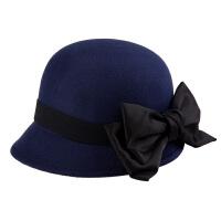 新款羊毛呢小礼帽 英伦复古蝴蝶结圆顶爵士毡帽盆帽子女潮