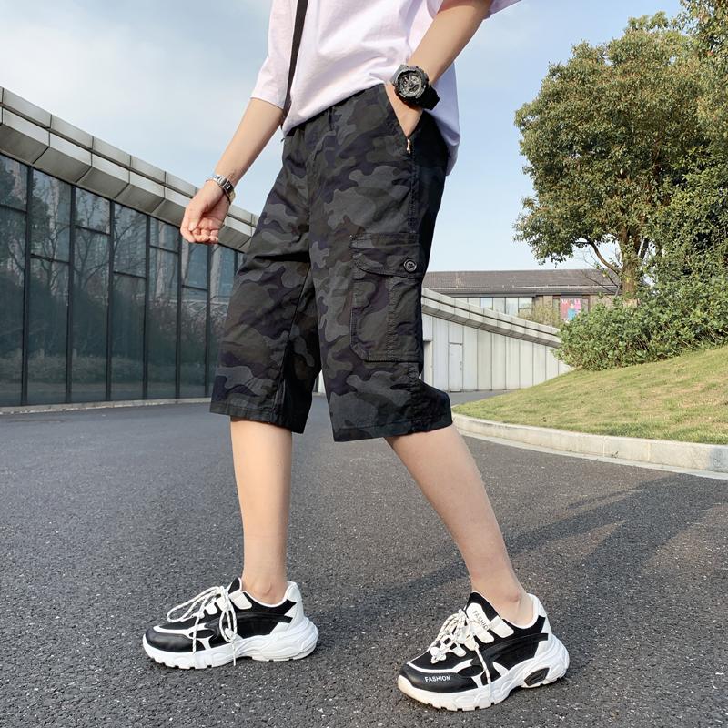 夏季迷彩裤子男短裤休闲工装七分裤纯棉宽松男士潮裤夏天7分裤子5