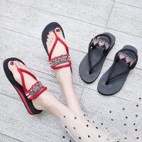 时尚外穿平底女士凉鞋 新款厚底人字拖百搭夹脚凉拖鞋女海边沙滩凉鞋