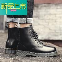 新品上市马丁靴男潮英伦风中高帮男鞋韩版百搭工装短靴冬季加绒男靴子