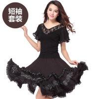 广场舞服装新款套装 女士休闲上衣短袖舞蹈服 拉丁舞成人女跳舞裙子