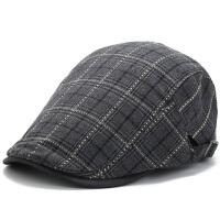 四季薄款鸭舌帽格纹男女帽子休闲短帽檐贝雷帽时尚春秋帽子
