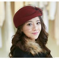 可爱英伦毛呢帽   帽子女   时尚贝雷帽羊毛毡帽     小礼帽空姐帽