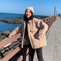 2019秋冬新款韩版羊羔毛毛绒加厚短款外套女春秋中长款学生上衣