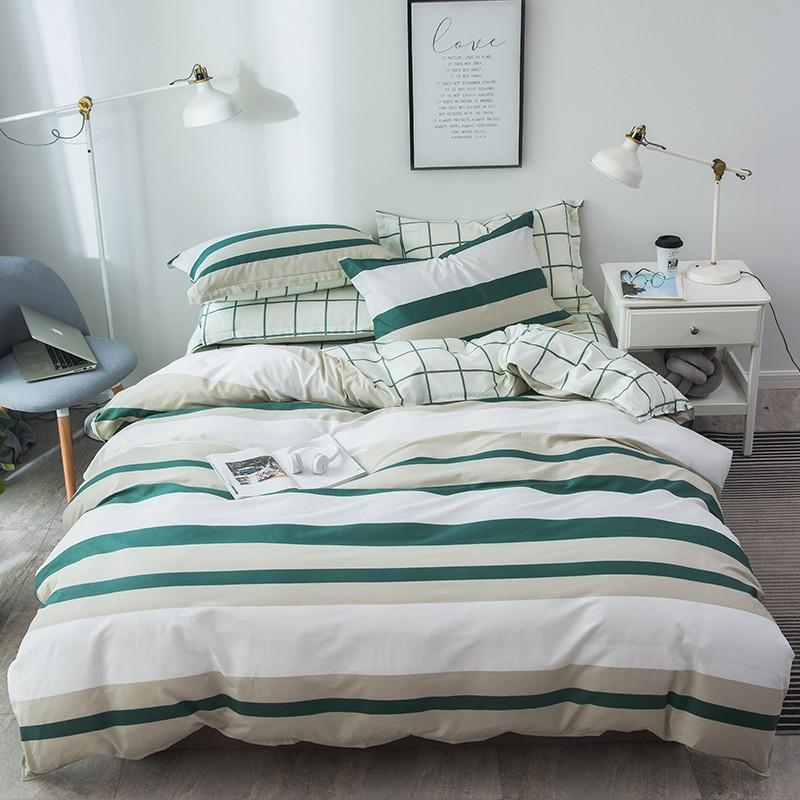 a床上穿上用品四件套床单人被套4学生宿舍1.2/1.5米三件套3被罩  1.35m床棉四件套 (被套:180x220cm