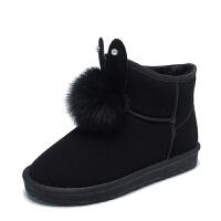 雪地靴女2018秋冬季新款短靴加绒平底甜美可爱网红韩版学生兔耳朵