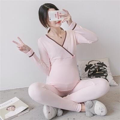孕妇秋衣秋裤套装加绒保暖内衣孕妇睡衣秋冬季月子服哺乳喂奶