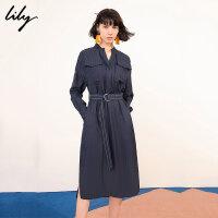 【6/4-6/8 一口价:359元】 Lily春女装气质条纹宽松休闲长袖衬衫连衣裙119140C7266