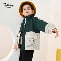 【今日3折�A估�r:95.5元】迪士尼男童外套春秋新款撞色���膺\�有蓍e工�b唐老���和�����上衣