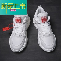 新品上市男鞋春季潮鞋厚底增高小白鞋韩版运动老爹鞋男士鞋子百搭白鞋