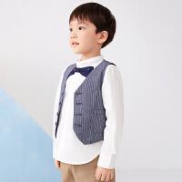 【6折价:179.4元】马拉丁童装男童外套2020春夏新款分割线设计条纹西装马甲外套
