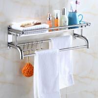 加厚毛巾架50厘米不锈钢浴巾架免打孔厕所卫生间置物架壁挂卫浴浴室挂件-单层厚款