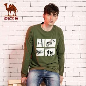 骆驼CAMEL 男装 春季新款T恤 男士商务休闲长袖T恤