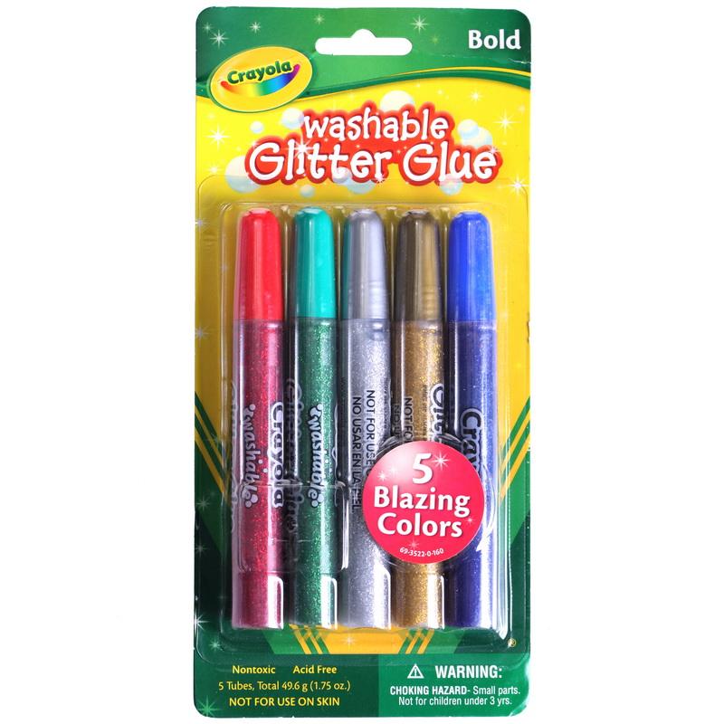 Crayola 绘儿乐 5色可水洗粗头闪光胶水笔 69-3522【当当自营】美国进口儿童绘画品牌,安全无毒 绘本绘画水彩笔