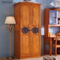 木质美式卧室两门衣柜三门整体儿童衣橱 全实木家具衣柜 全实木衣柜