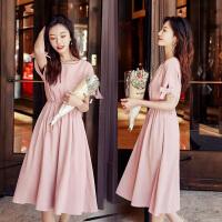 【满299减240】裙子法式高腰2019夏季新款女装韩版中长款修身短袖桔梗连衣裙