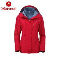 Marmot/土拨鼠户外防风防水透气女式休闲保暖三合一冲锋衣