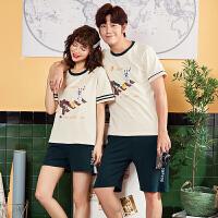 新款情侣睡衣夏季韩版卡通可外穿短袖短裤全棉男女家居服套装