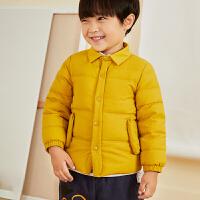 【2件88/3件8折后到手价:351.2元】马拉丁童装男小童羽绒服冬装新款黄色立领羽绒夹克保暖外套