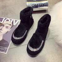 毛毛短靴平底鞋女鞋冬季新款羊羔毛女鞋水钻加绒雪地棉靴子