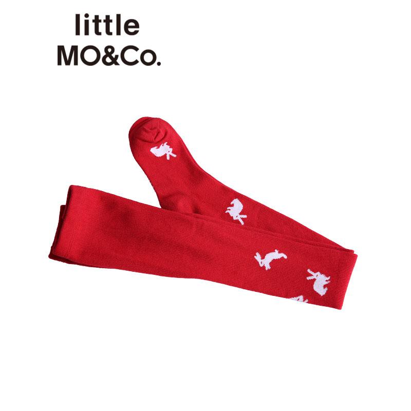 【折后价:39.6】littlemoco秋冬新品儿童袜子小兔子小星星图案长筒袜男女童棉袜 稚趣兔子图案 保暖长袜