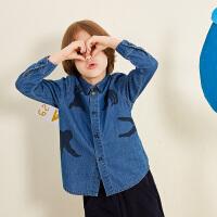 【2件3折价:119.7元】马拉丁童装男童衬衫秋冬装新款翻领图案洋气牛仔衬衫长袖上衣