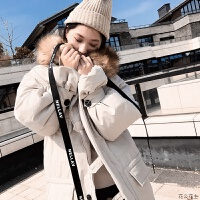 毛领棉袄宽松棉衣女冬装外套工装中长款加厚面包服