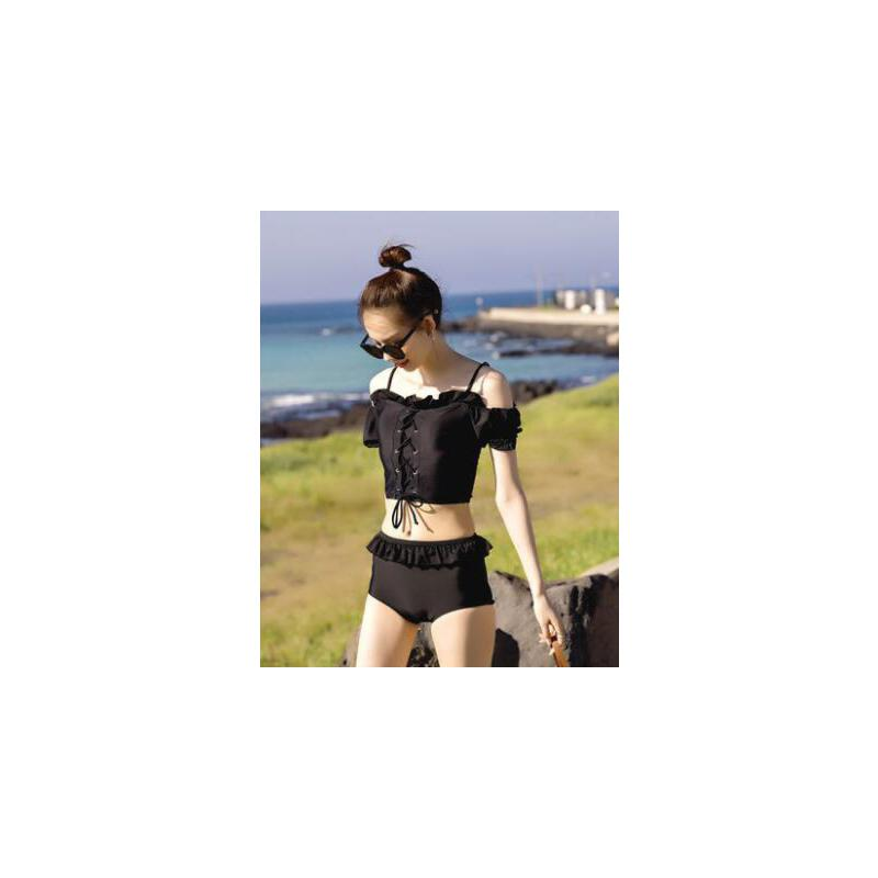 分体泳衣女保守绑带一字肩短袖遮胳膊小胸海边泡温泉黑色荷叶边网红同款时尚户外新品 品质保证 售后无忧