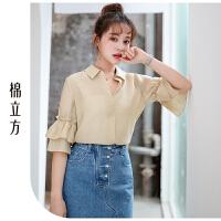 清新女士衬衣2019年新款夏季棉立方洋气纯色半袖衬衫女设计感小众
