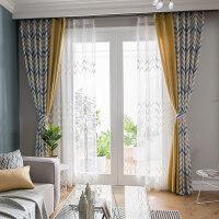 现代简约全遮光窗帘美式成品田园客厅卧室遮光布北欧风格定制飘窗落地窗定制 需要几米拍几件(加工费另算)