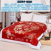 杭州丝绸被面被套 棉脱卸被罩 软缎织锦缎绸缎结婚庆 白色里子y 乳白色 麒麟送子-丽春红