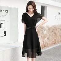 安妮纯雪纺连衣裙女2020夏季新款洋气女装收腰显瘦气质黑色短袖长裙子潮