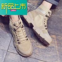 新品上市马丁靴男潮百搭英伦风男靴子冬季中帮工装短靴高帮鞋韩版复古男鞋